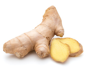 Canvas Prints Spices Fresh ginger root or rhizome isolated on white background cutout