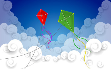 Kites flying in a cloud sky with wind