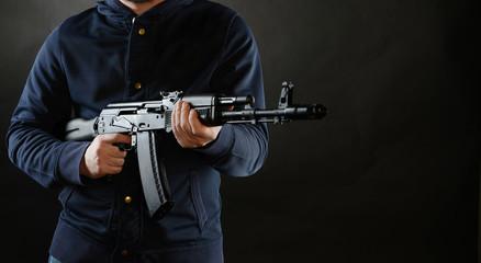Terrorist is holding AKM 47