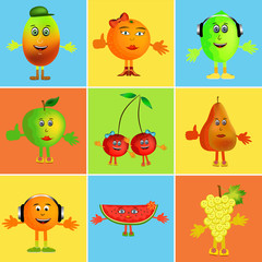 fruit cartoon collage