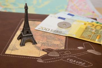 Mini Eiffel tower on map