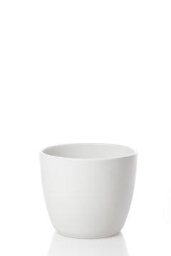 White flower pot isolated on white background