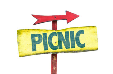 Picnic sign isolated on white