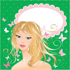 Blonde girl beautyful face - portrait on polka dot green backgro