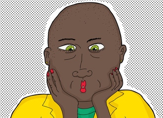 Bald Black Woman with Green Eyes