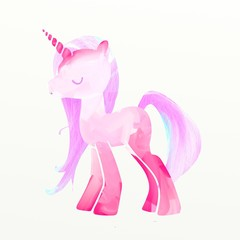 Pink unicorn digital painting illustration vibrant colors