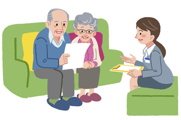 ケアマネージャー 老夫婦 Elderly couple meeting with Geriatric care manager
