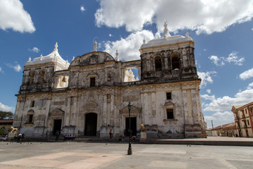 Cathedral on the central square of Leon, Nicaragua