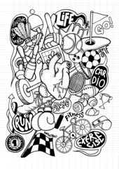 Hand drawn doodle sport Background, illustrator line tools draw