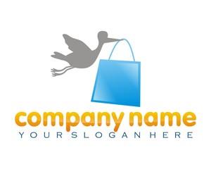bag sac shopping bag bird stork logo image vector