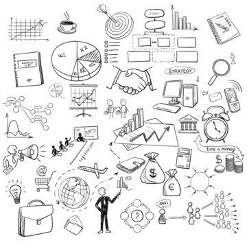 hand draw doodle web charts business finanse elements