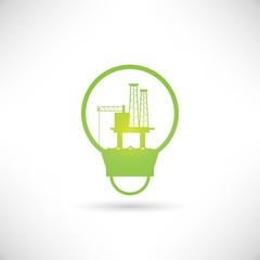 oil platform in light bulb