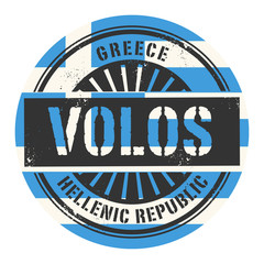 Grunge rubber stamp with the text Greece, Volos