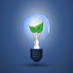 Blue Eco Energy Concept Icon - Plant Inside the Light Bulb