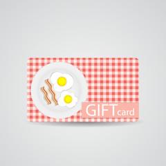 Abstract Beautiful Breakfast Gift Card Design, Vector Illustrati