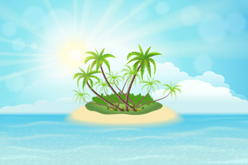 Wall Mural - Paradise tropical island with palm trees, sky, clouds and sun