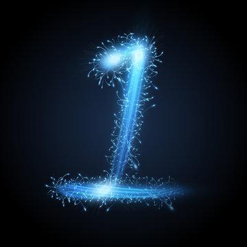 3d blue sparkler firework number 1