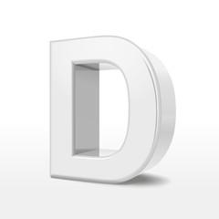 3d white alphabet D