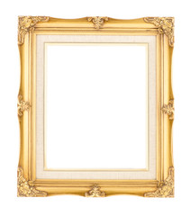 Empty bright gold gilded wood with inner canvas vintage frame on