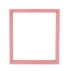 Pastel color wood photo frame in country rustic style isolated o