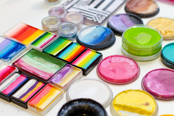 Sets of colorful face paints, vibrant colors of all shades, colours for professional use
