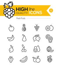 Fruits Line Icons including: Raspberry, banana, pineapple etc..