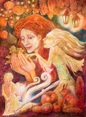 Beautiful fantasy drawing of a autumn woman with red hair headin