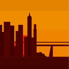 Sunset in New York, into a flat vector illustration