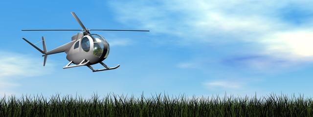 Helicopter landing - 3D render