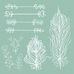 Set of hand drawn doodle floral vector elements