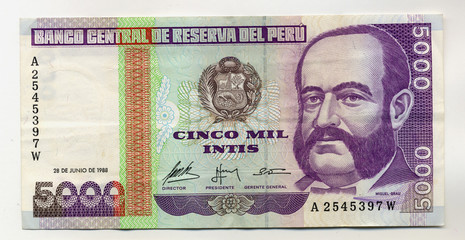Admiral Miguel Grau on 5000 Intis 1988 Banknote from Peru.