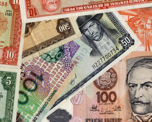 Old peruvian currency banknotes