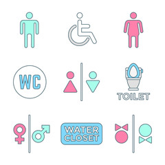 various colored outline water closet signs toilet restroom icons