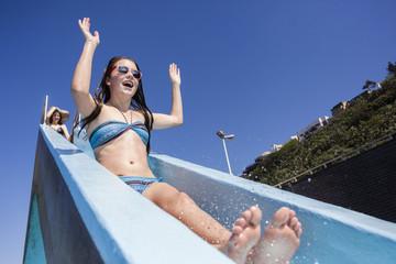 Girls Pool Slide Fun