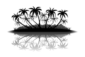 Wall Mural - Tropical island with palm trees silhouette on white background