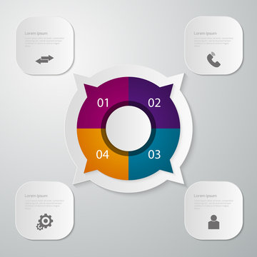 Vector illustration infographics circle with four quadrants . Re