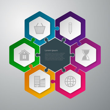 Vector illustration infographics hexagons connected puzzle