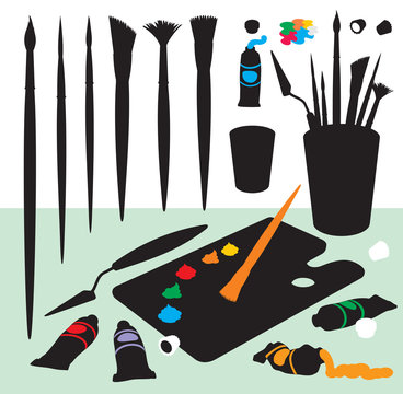 Art Supplies Color Silhouettes