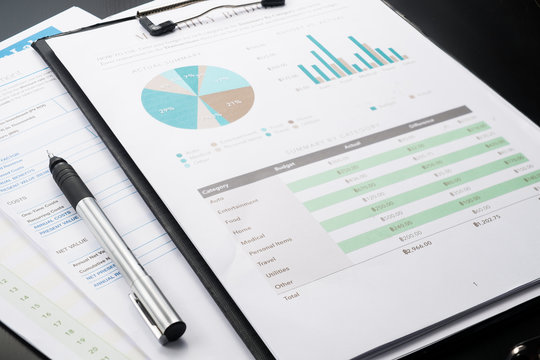 accounting business and financial report with pen .