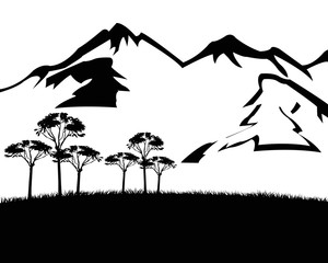 Black white landscape with mountain