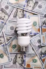 CFL Fluorescent Light Bulb on money dollar cash background
