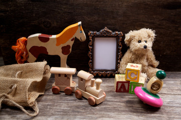 Vintage toys woth frame for photo