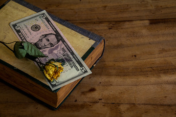 Put money on a book on old wooden floor.still life