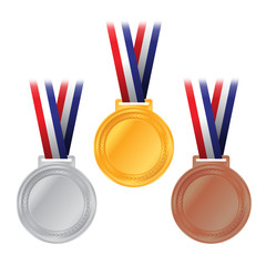 Gold, Silver, and Bronze Medals Illustration