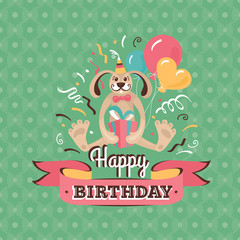 Vintage birthday greeting card with a hare vector illustration