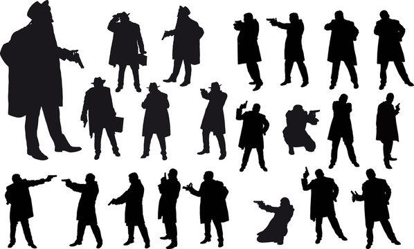 Black gangster silhouette