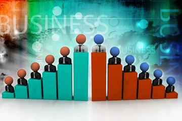 Business people, graph