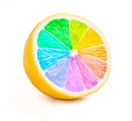 Lemon cut half slice with color wheel isolated
