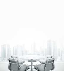White meeting room with panoramic window