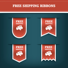 Vertical ribbon bookmarks, tags, stickers for free shipping or